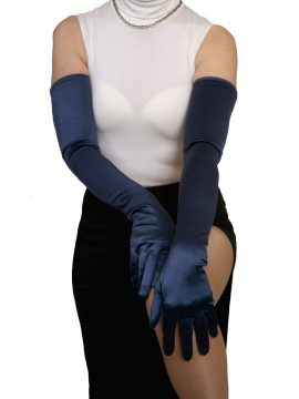 Dents navy long satin gloves