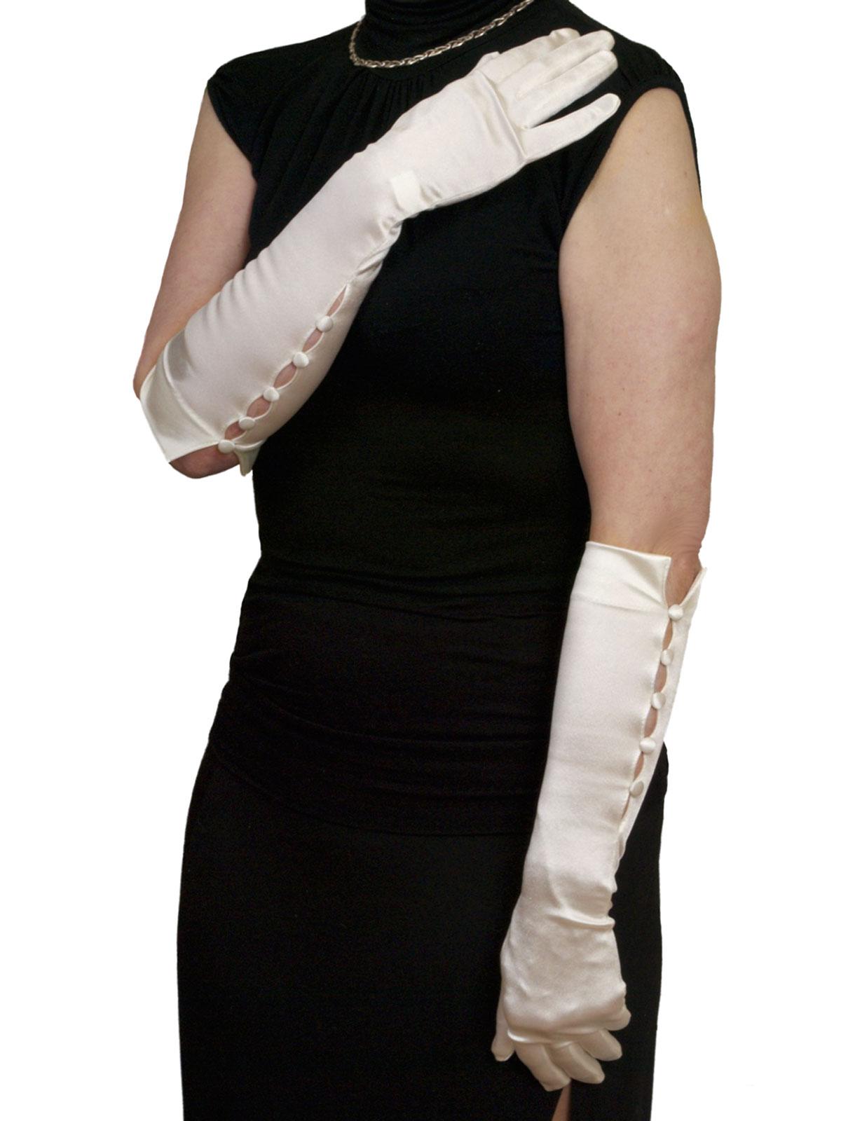 Dents 5 Button Long Satin Gloves 3 4 Length Tout Ensemble