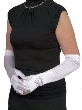 Dents white 3/4 plain satin gloves