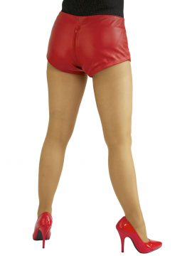 Ladies Red Hipster Leather Hot Pants with Crotch Zip