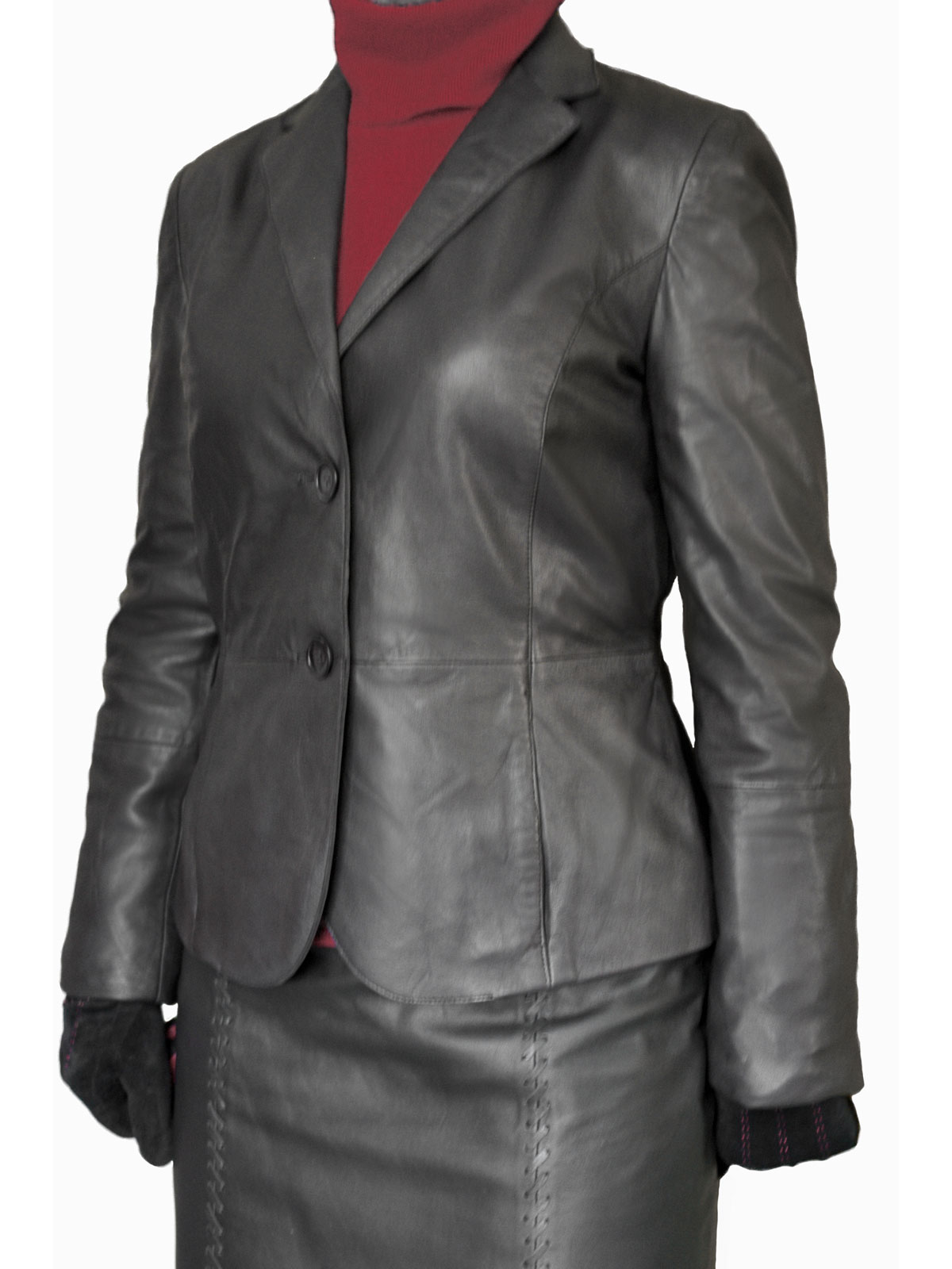 Leather jacket uk womens -  Ladies Black Tailored Leather Jacket Blazer