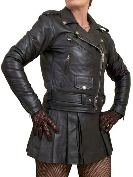 Ladies Marlon Brando Black Leather Jacket