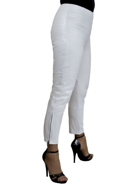 Ladies White Crop Leather Trousers