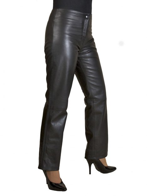 Ladies Low Waist Black Leather Trousers
