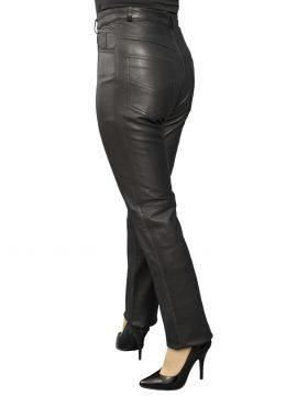 Ladies Black Slim Fit Leather Trousers, matt finish, belt loops