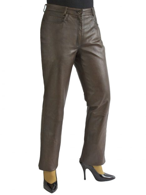 Ladies Brown Leather Trousers Jeans