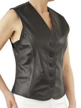 Ladies Black Soft Leather Waistcoat with 5-button fastening