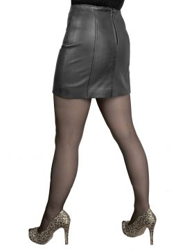 Black 14in panelled leather mini skirt