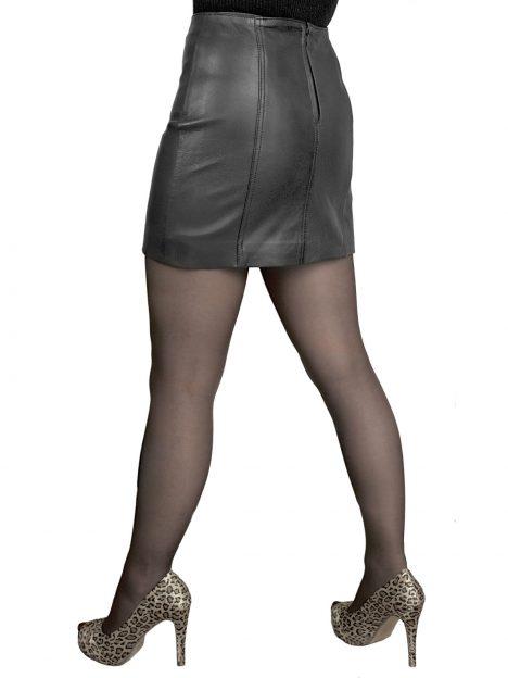 Black 14in panelled leather mini skirt