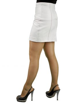 White 16in panelled leather mini skirt