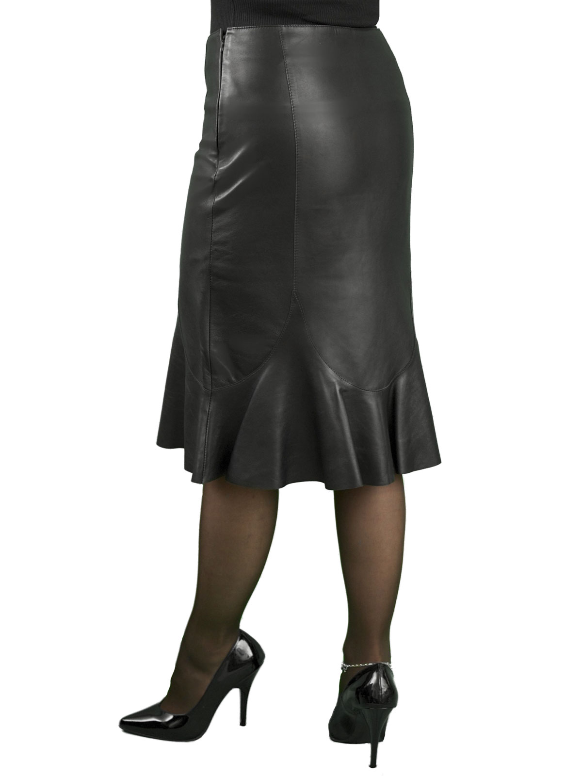 fishtail leather skirt below knee length tout ensemble