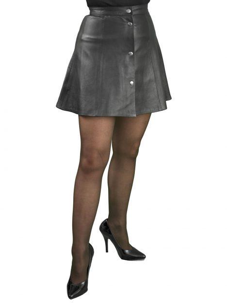Black Leather Skater Mini Skirt