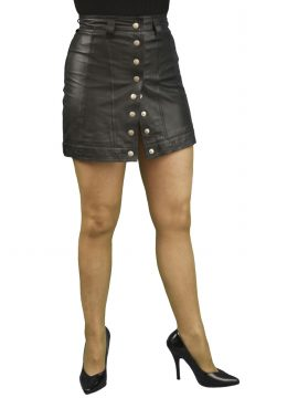 Black Leather Mini Skirt Front Stud Opening