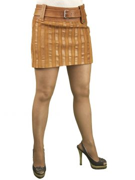 Tan Leather Hipster Mini Skirt with belt