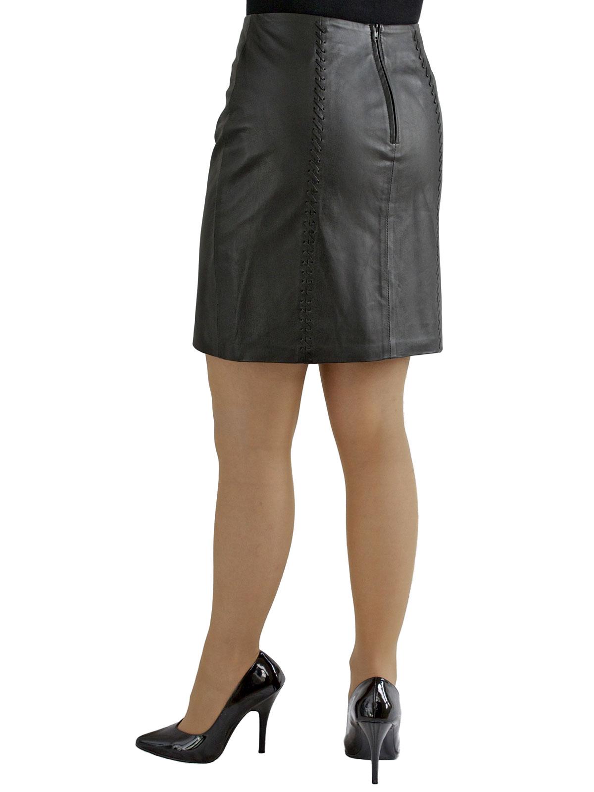 Black Soft Leather Mini Skirt, laced seams - Tout Ensemble