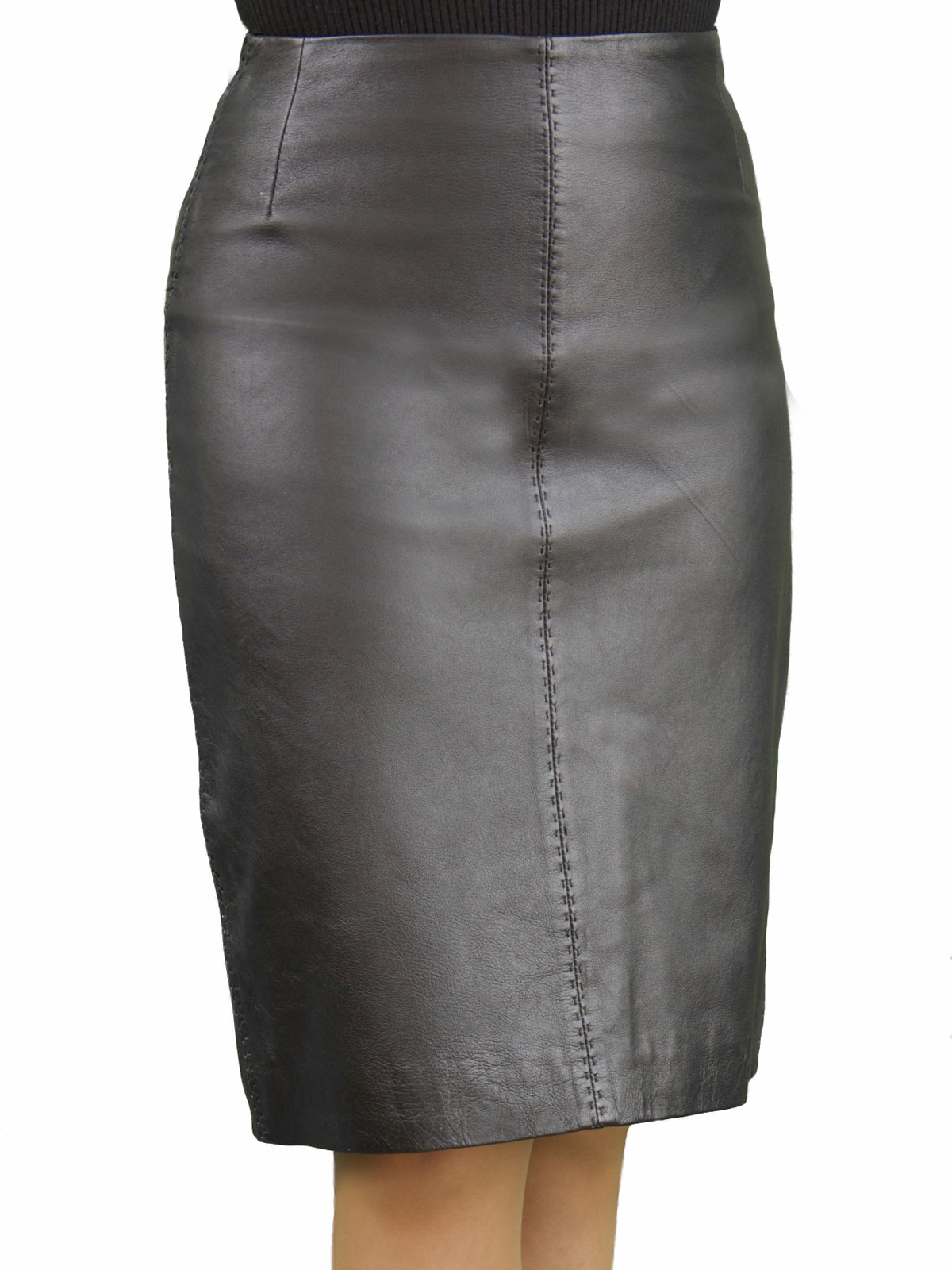 luxury leather pencil skirt with back split tout ensemble