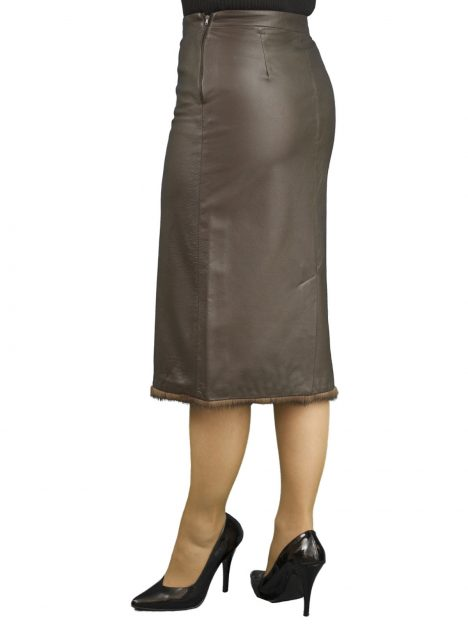 Brown Leather Pencil Skirt fur trim