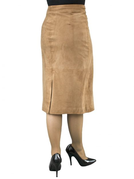 Tan Suede Midi Pencil Skirt back split