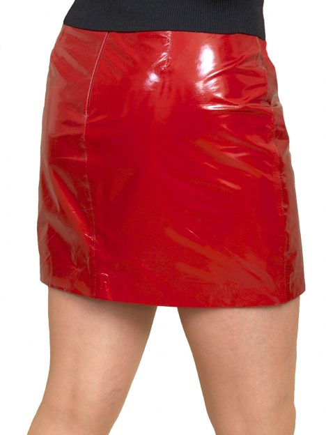 Red patent leather mini skirt