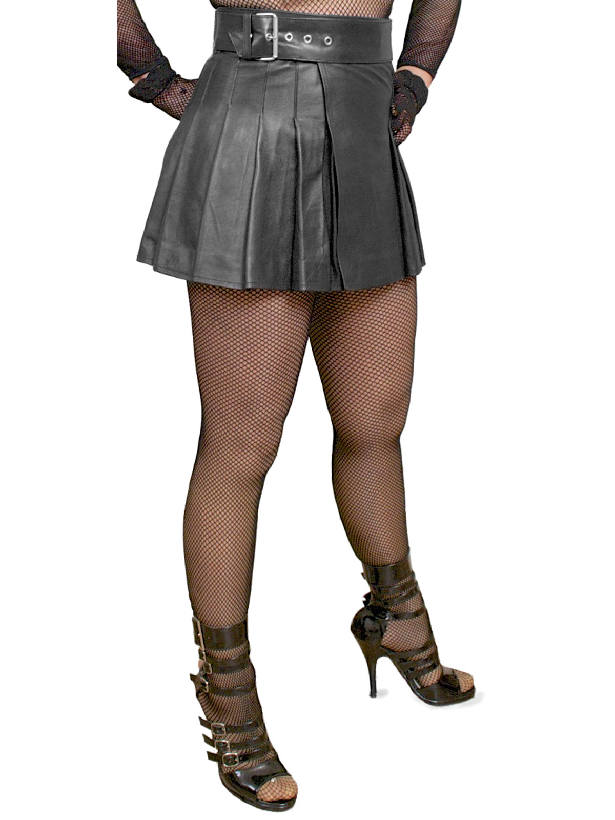 Wrap-around Leather Mini Skirt Kilt - Tout Ensemble