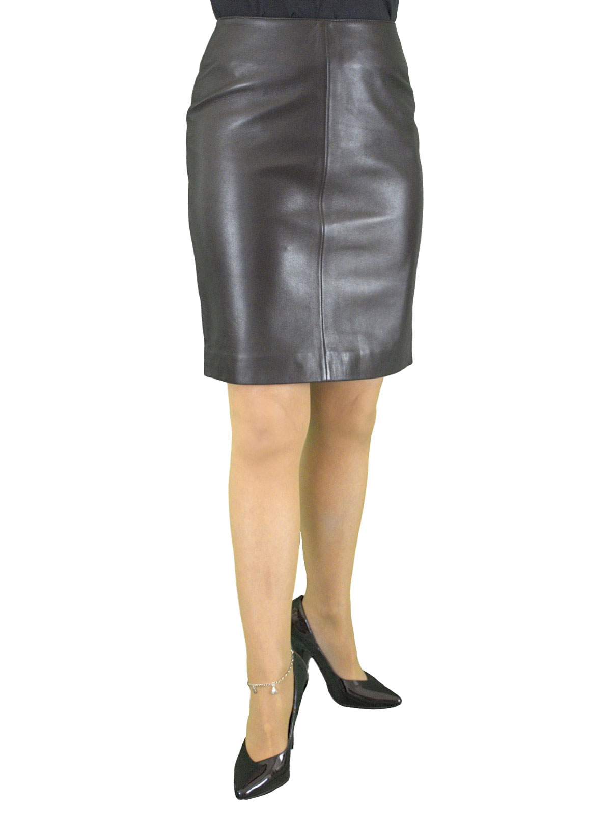 Luxury Leather Pencil Skirt Above Knee 19in Length Tout Ensemble