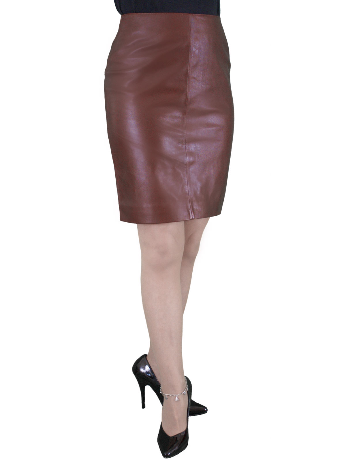 soft leather pencil skirt rear zip 19in length