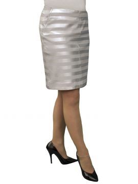 Striped Leather Pencil Skirt, Silver Grey