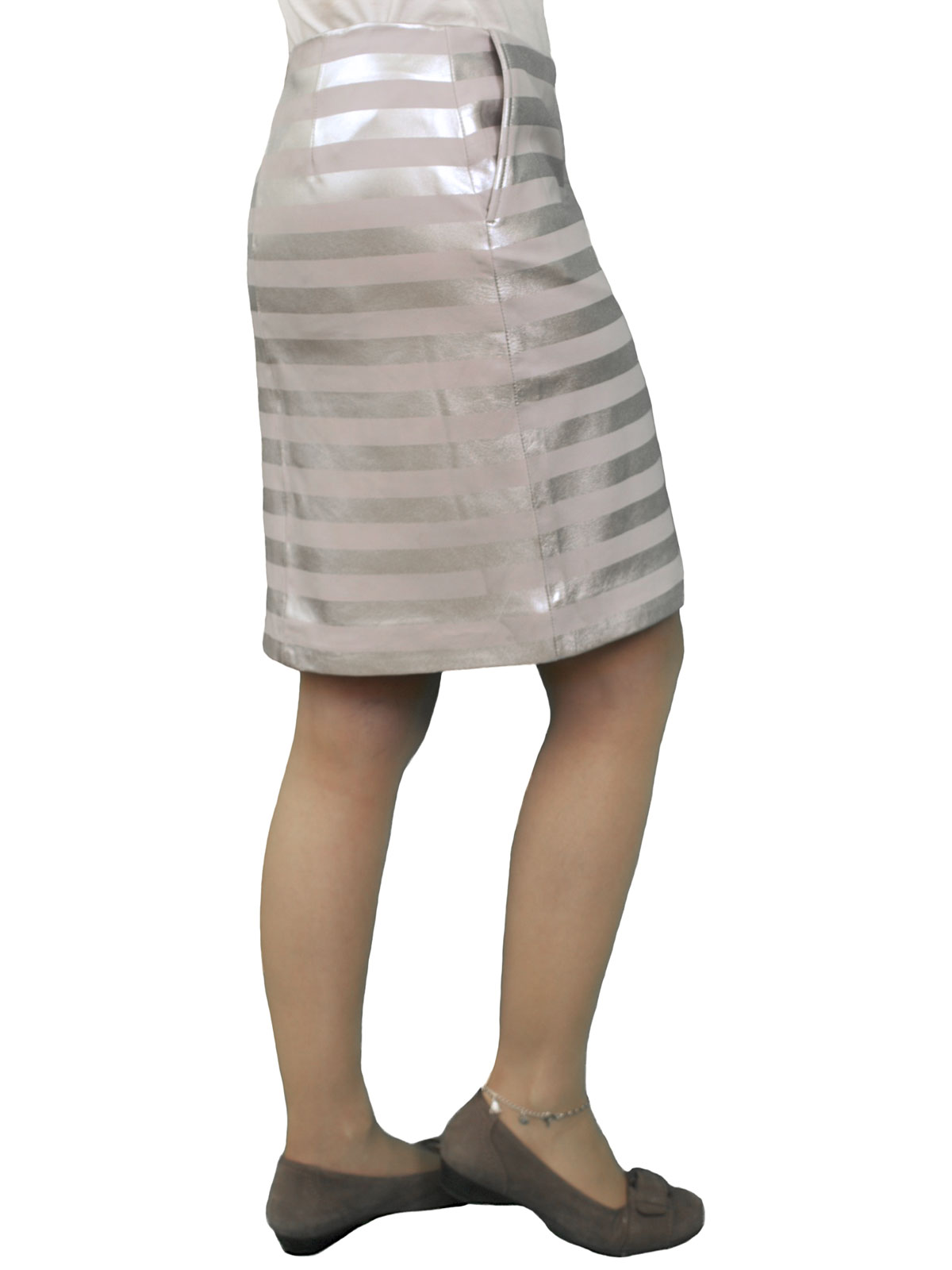 luxury striped leather pencil skirt silver grey tout