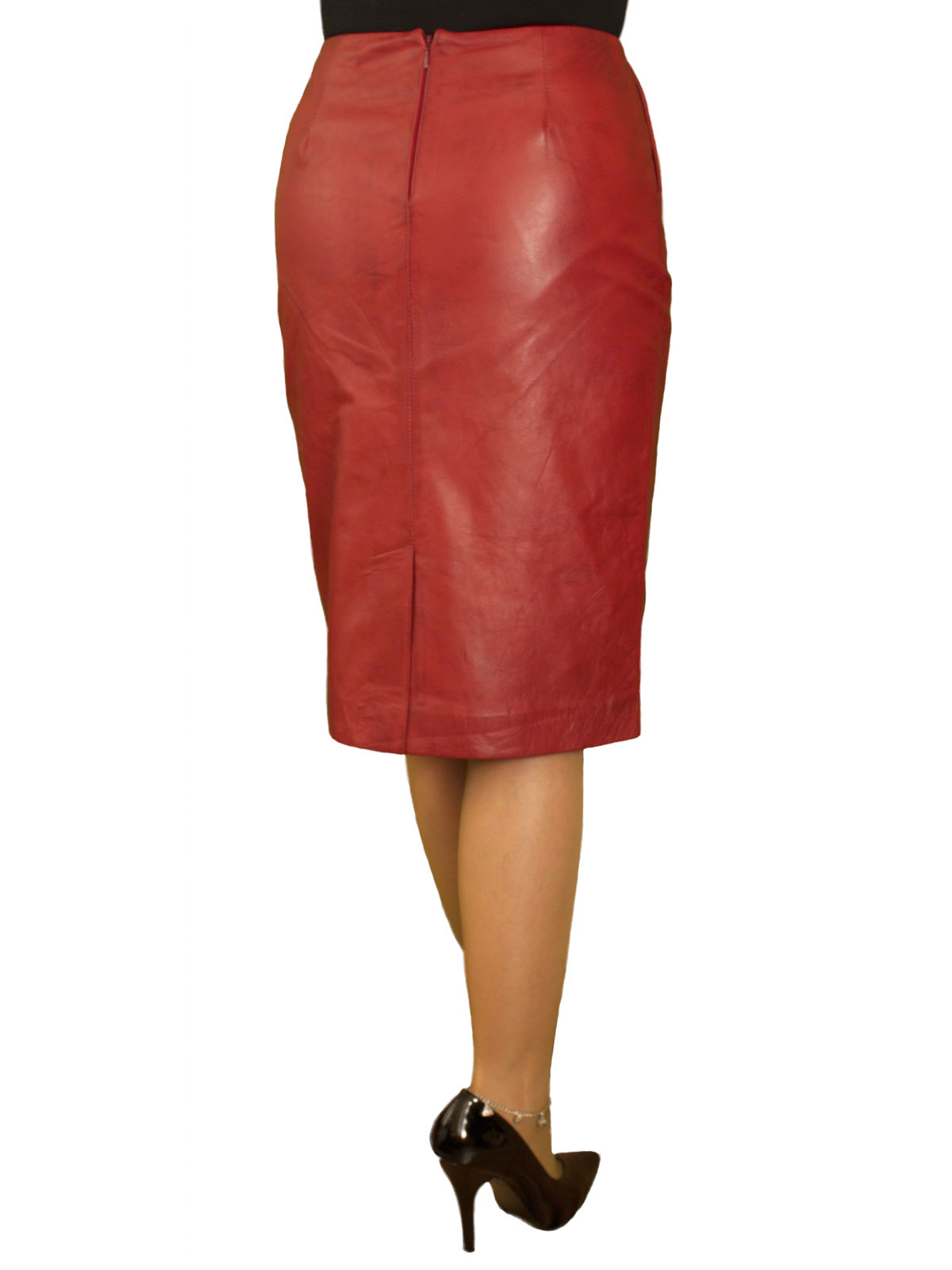Leather Pencil Skirt, luxury soft, knee length - Tout Ensemble