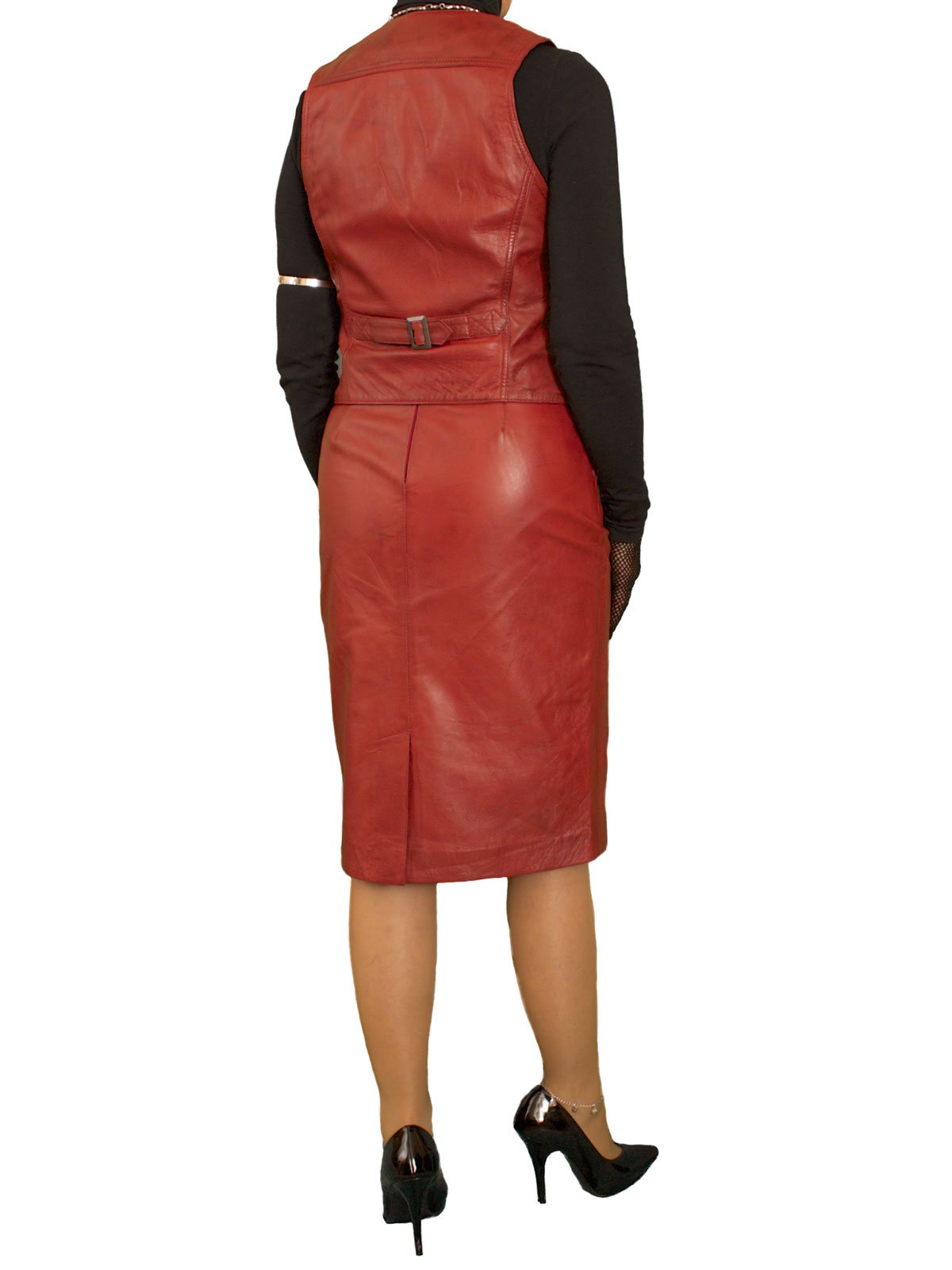 Womens Leather Outfit Pencil Skirt Waistcoat - Tout Ensemble
