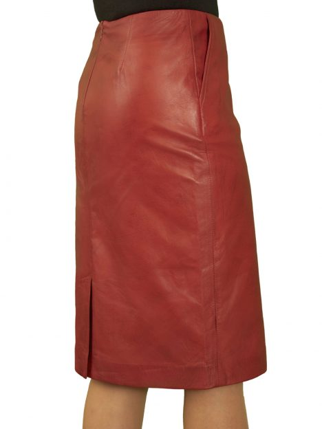 Cherry Red Leather Pencil Skirt knee length