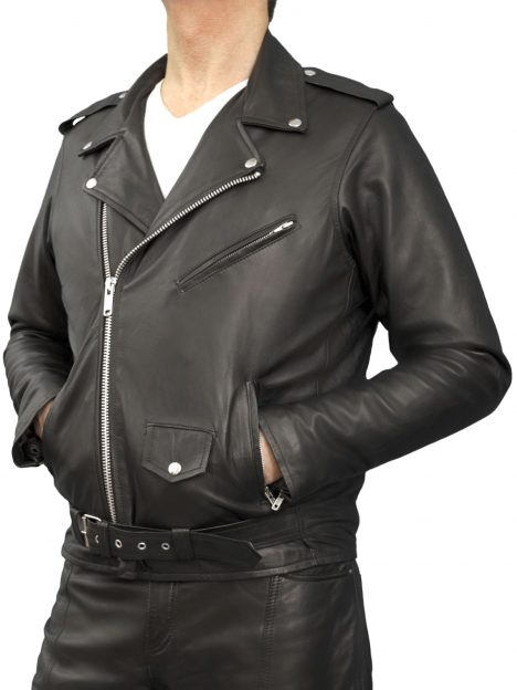 Mens Marlon Brando Black Leather Jacket