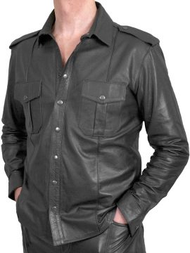 Mens Black Leather Shirt