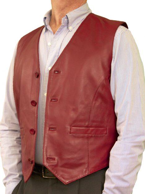 Mens Burgundy Luxury Leather Waistcoat plain back