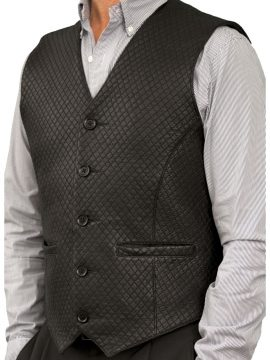 Mens Black Diamond Stitch Leather Waistcoat