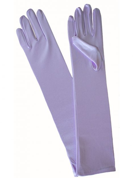 Pia Rossini Lilac Long Satin Evening Gloves