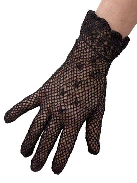 Dents Ladies Black Cotton Crochet Short Dress Gloves