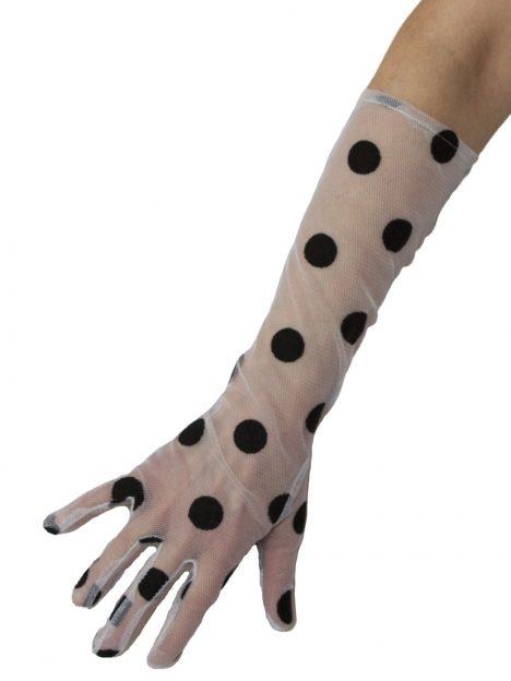 Dents White 3/4 length large spot long dress gloves