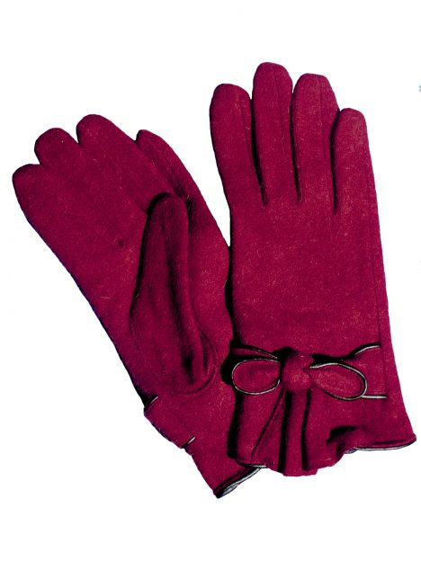 Pia Rossini Ladies Red Short Wool Gloves with bow trim