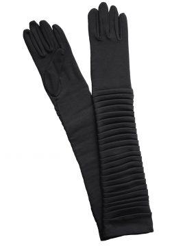 Dents Black Cotton Ruched Long Dress Gloves