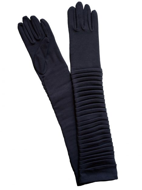 Dents Navy Cotton Ruched Long Dress Gloves