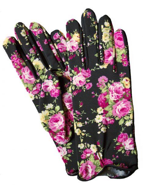 Dents Floral Print Short Dress Gloves, Black Pink