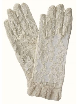 Dents Ivory Lace Dress Gloves with Ruffle Cuff