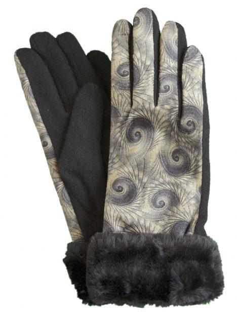 Pia Rossini Ladies Stone Pattern Black Wool Gloves with faux fur cuff