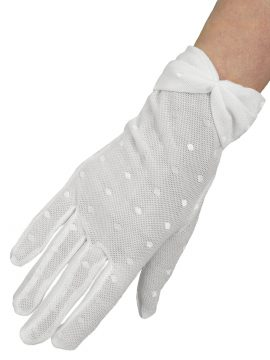Dents White Sheer Tulle Polka Dot Dress Gloves with bow cuff