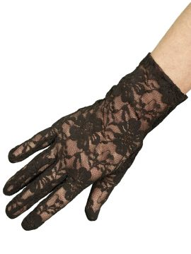 Dents Short Black Stretch Lace Dress Gloves