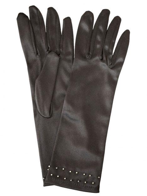 Dents Black Satin Dress Gloves with gold studs