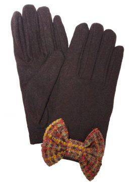 Dents Ladies Wool Gloves with tweed bow, Chocolate