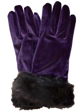 Dents Amethyst Short Velvet Gloves with faux fur cuff