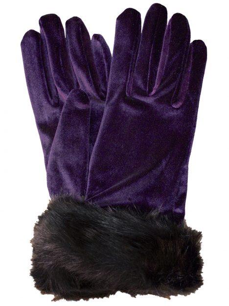 Dents Amethyst Short Velvet Gloves with faux fur cuff